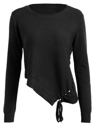 Lace Up Asymmetrical Sweater - Black - One Size