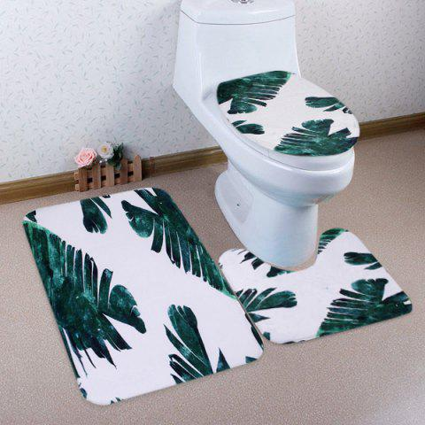 Latest Coral Fleece Watercolor Leaf 3Pcs Toilet Rugs Set