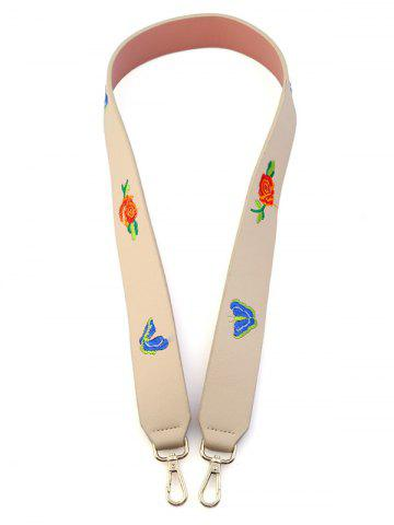 Discount Embroidery Flower Butterfly Bag Shoulder Strap OFF-WHITE