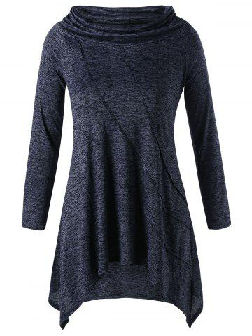 Best Asymmetric Plus Size Long Sleeve Tunic Top - 3XL PEARL DARK GREY Mobile
