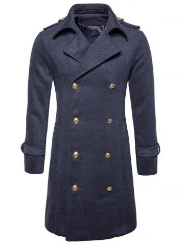 Fancy Double Breasted Peacoat - L DEEP GRAY Mobile