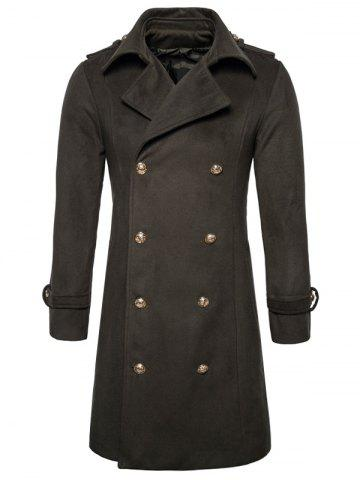 Chic Double Breasted Peacoat - 2XL ARMY GREEN Mobile