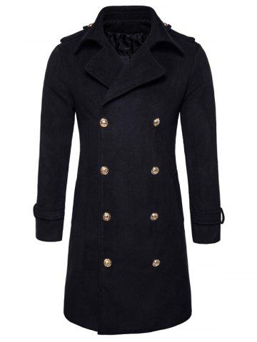 Shop Double Breasted Peacoat BLACK 2XL