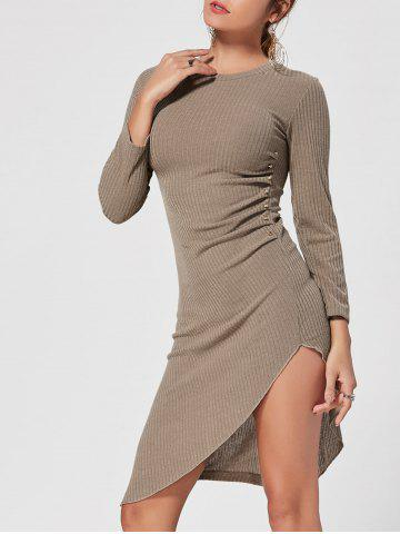 Shops Asymmetrical Crew Neck Mini Knit Bodycon Dress - XL KHAKI Mobile