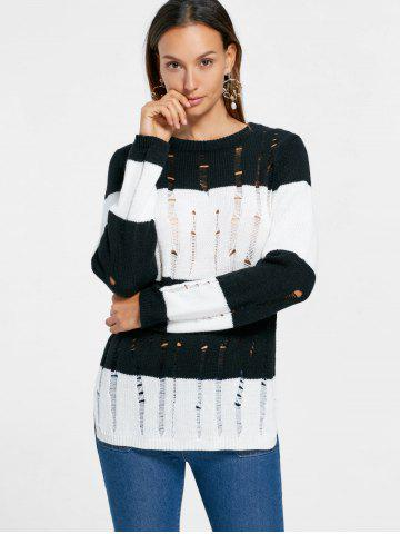 Two Tone Side Slit Frayed Sweater