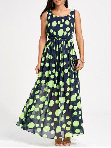 Cheap Polka Dot Swing Maxi Dress NEON GREEN M