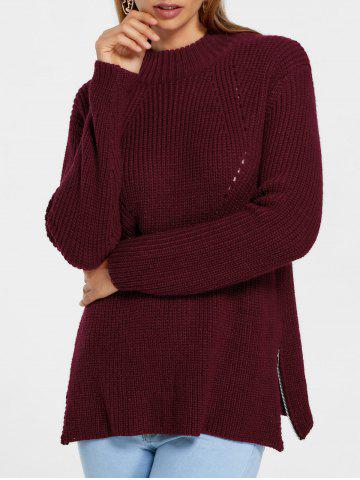 Best Side Zip High Neck Sweater - M WINE RED Mobile