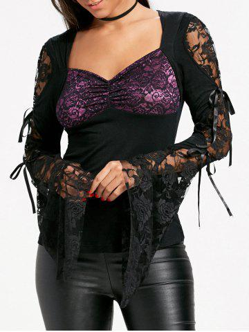Affordable Lace Insert Bandeau Bell Sleeve T-shirt BLACK 2XL