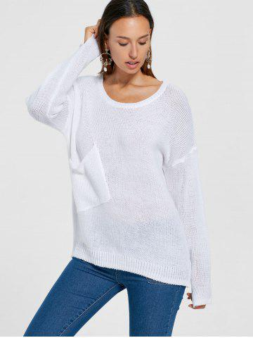-62% Patch Pocket Drop Shoulder Tunic Sweater