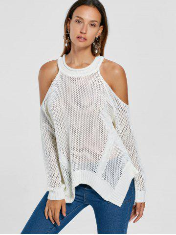 Cold Shoulder Open Knit Sweater