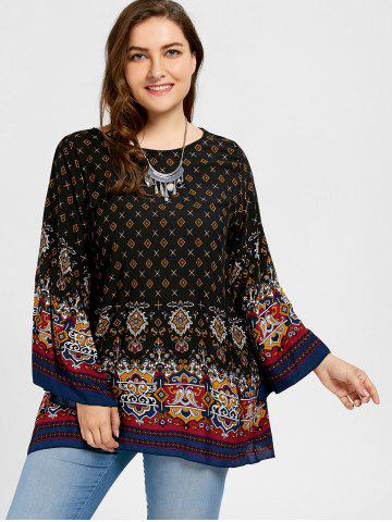 Plus Size Tribe Print Bell Sleeve Blouse