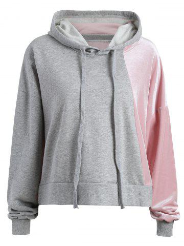 Discount Color Block Plus Size Velvet Hoodie