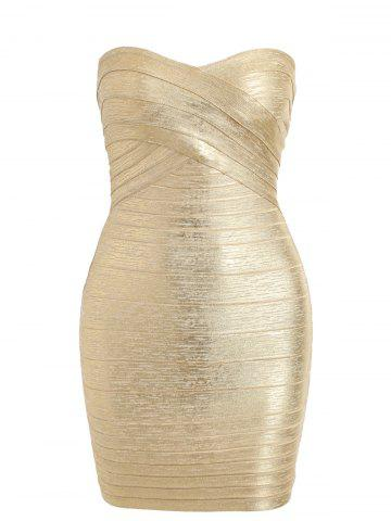Store Bandeau Metallic Bandage Dress