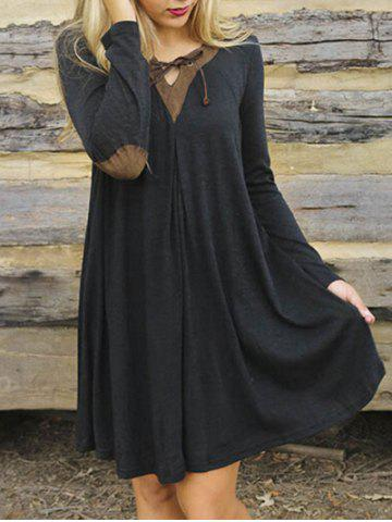 Patched Elbow T-shirt Swing Dress