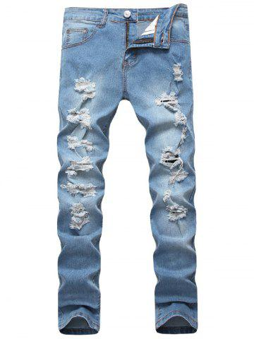Trendy Distressed Light Wash Jeans