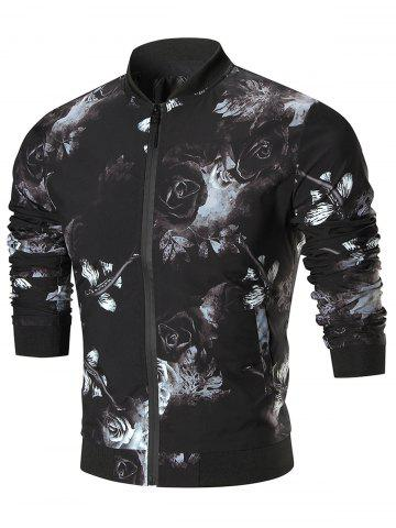 Zip Up Rose Print Jacket