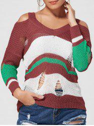 Color Block Ripped Knit Top