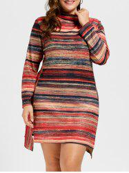 Asymmetrical Turtleneck Plus Size Dress