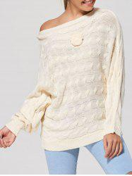 Cable Knit Floral Dolman Sleeve Sweater