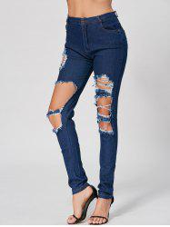 Fashionable High Waist Broken Hole Design Bodycon Ripped Jeans For Women -