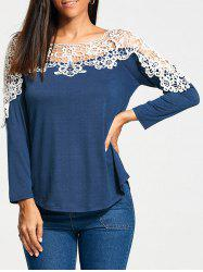 Lace Trim Long Raglan Sleeve T-shirt - BLUE