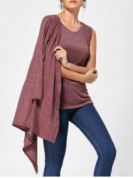Long Sleeve Collarless Cardigan with Tank Top