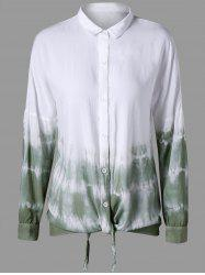 Button Up Drop Shoulder Tie Dye Shirt