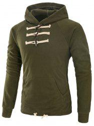 Drawstring Horn Button Fleece Hoodie
