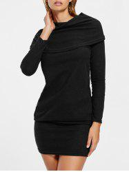 Cowl Neck Draped Long Sleeve Dress