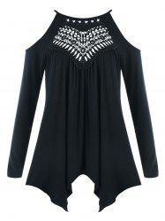 Plus Size Openwork Cold Shoulder Tee