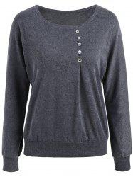 Plus Size Button Embellished Long Sleeve Tee