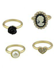 Rhinestone Heart Flower Cameo Ring Set