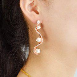 Statement Rhinestone Faux Pearl Earrings
