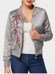 Floral Embroidered Bomber Jacket - GRAY 2XL