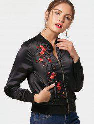 Floral Embroidered Bomber Jacket - BLACK 2XL