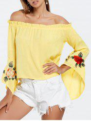 Off Shoulder Flare Sleeve Embroidery Blouse