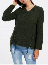 V Neck Side Lace Up Sweater