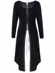Tunic High Slit Long Sleeve Lace-up Top