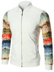 Feather Print Zip Up Jacket
