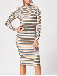 Striped Ribbed Long Sleeve Dress