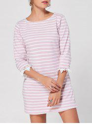 Lace Cuff Striped Casual Dress