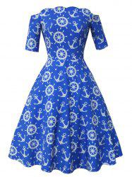 Anchor and Helm Print Vintage Dress