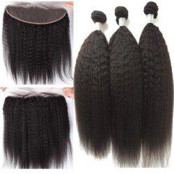3Pcs/Lot 5A Remy Long Free Part Kinky Straight Indian Human Hair Weaves