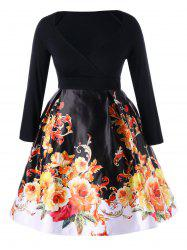 Plus Size Long Sleeve Floral Vintage Dress
