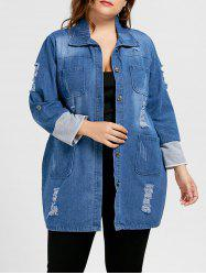 Ripped Denim Plus Size Longline Coat
