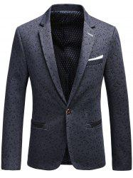 Faux Chest Pocket Scattered Pattern Blazer - DEEP GRAY 3XL