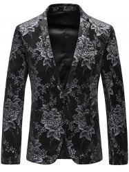 One Button Lapel Floral Velveteen Blazer