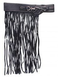 Wide Artificial Leather Fringed Corset Belt