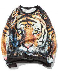 Crew Neck Funny Tiger Face Sweatshirt