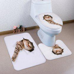 3D Broken Paper Cat Pattern 3 Pcs Bath Mat Toilet Mat